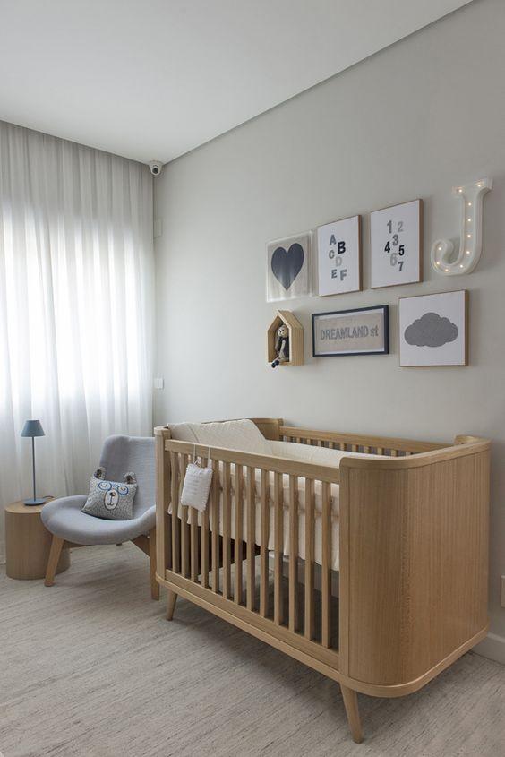 Quartinho de bebê em tons neutros ~ Quarto Todo Cinza