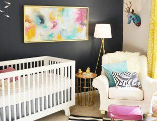 quarto bebê parede preta