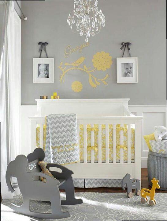 Quarto de bebê cinza, amarelo e branco  Mais de 900 Quartos de Bebê  【Quart