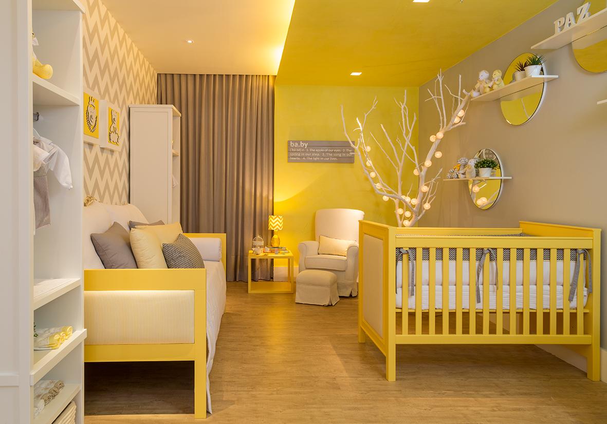 Quarto Cinza Amarelo E Branco Redival Com ~ Cortinas De Luxo Para Quarto E Quarto Amarelo E Branco