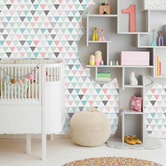 Adesivo De Unhas Para Formatura ~ Quarto de beb u00ea com papel de parede geométrico