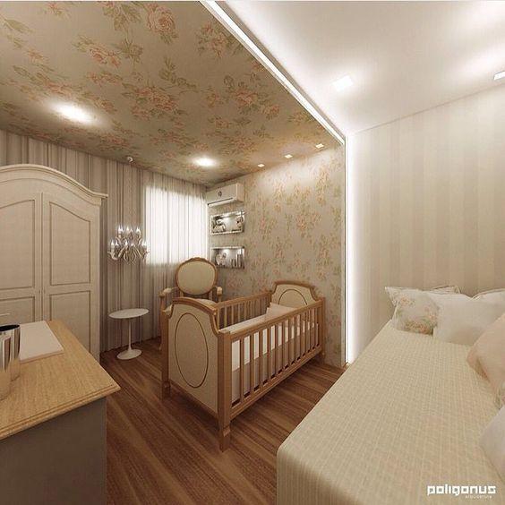 Quarto de bebê com papel de parede no teto ~ Cores Para Teto Quarto