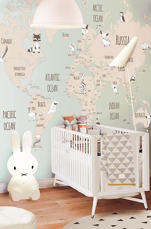 Quarto de beb volta ao mundo mais de 900 quartos de for Papel mural para dormitorio bebe