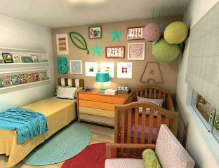 quarto de bebê compartilhado com irmãos e irmãs
