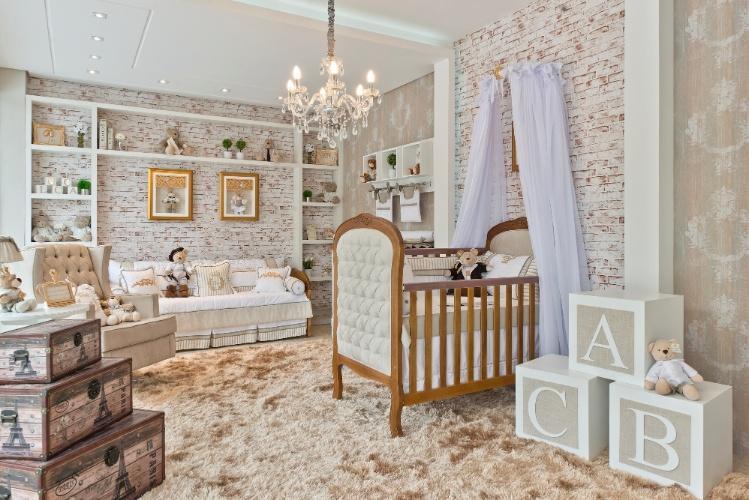 Quarto de bebê com parede de tijolo Quarto para bebê ~ Quarto Rustico De Bebe