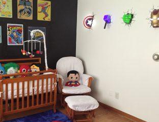 Quarto de bebê com a temática de super-heróis