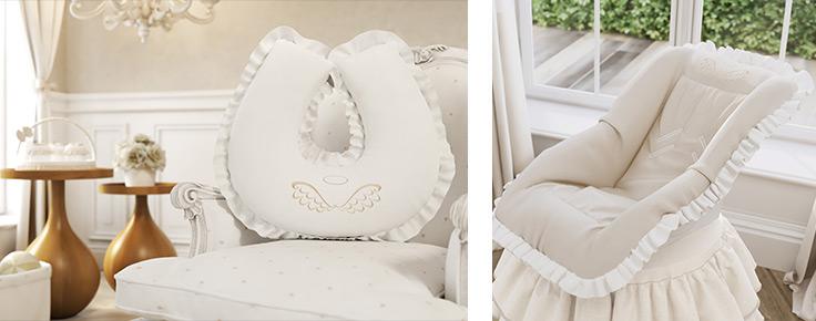 Almofada para amamentação e capa para bebê conforto da coleção Anjo, da Grão de Gente