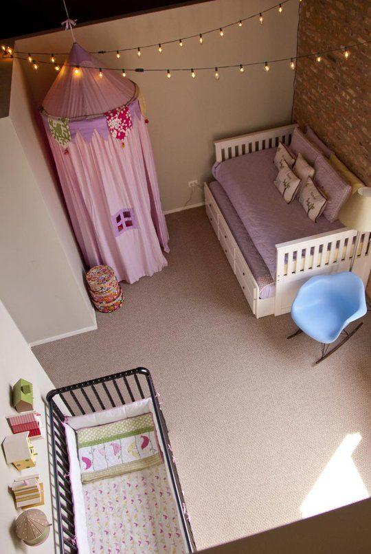 Tendas suspensas - quarto de menina