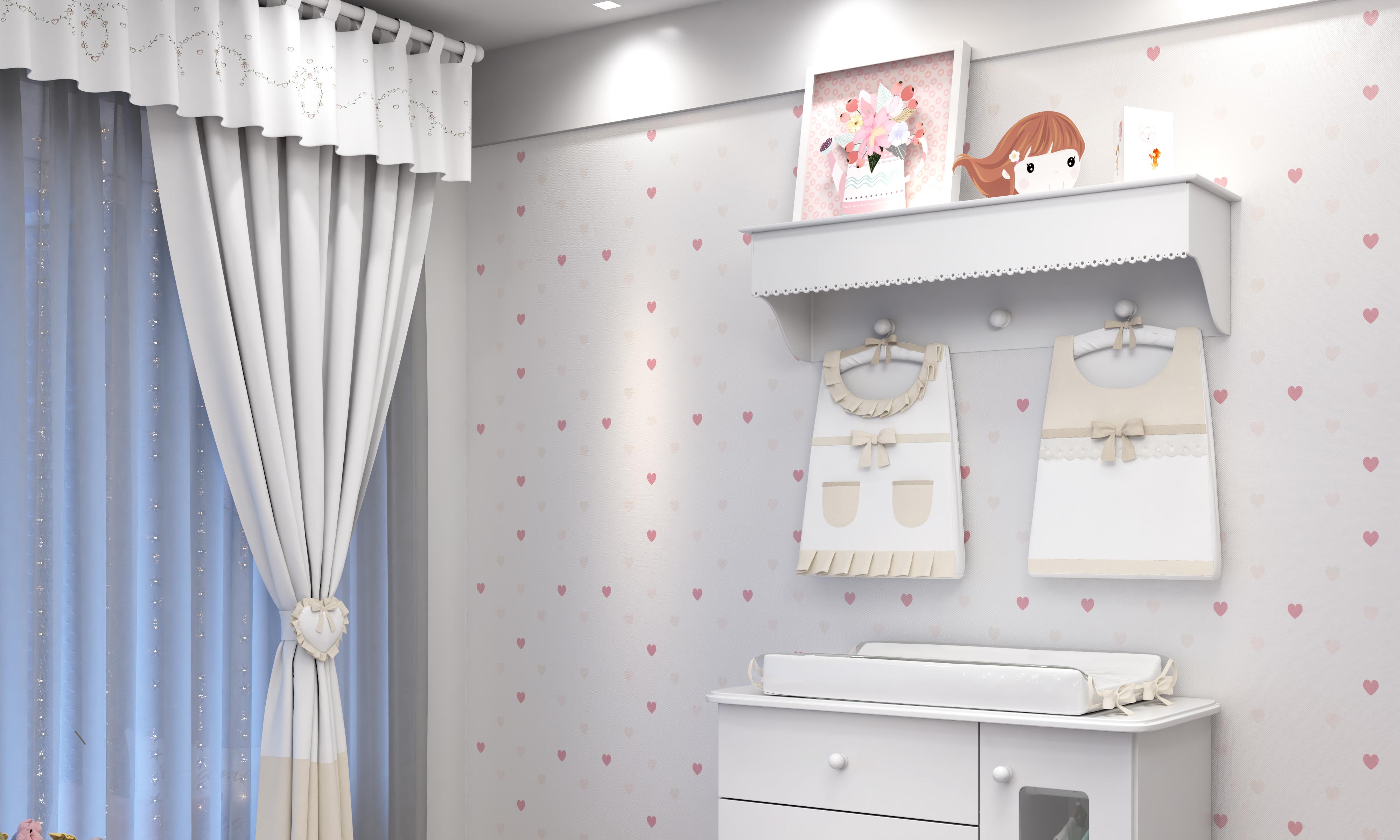 No site da Grão de Gente tem várias peças complementares como a prateleira com porta fraldas para deixar o quarto completo
