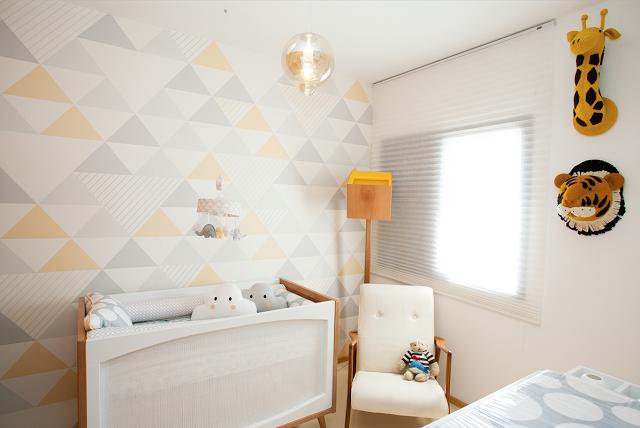 Triângulos tendência invade quartos para bebê  Quarto para bebê