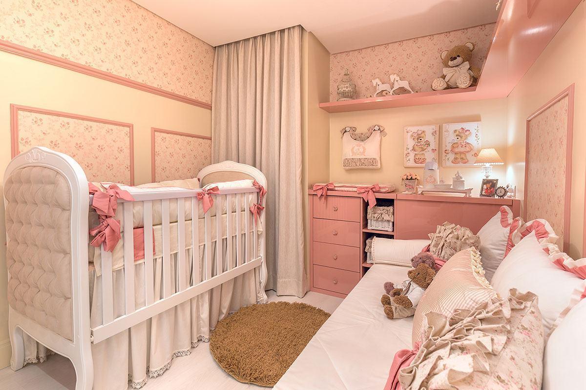 Cama Bab Traz Charme Para A Decora O Do Quarto Do Beb  ~ Papel De Parede Para Quarto De Bebe Rosa E Marrom