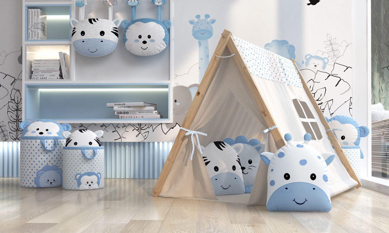 quarto de bebê azul para meninas