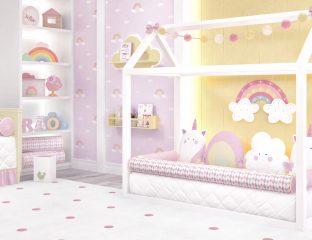 quarto de bebê montessoriano unicórnio
