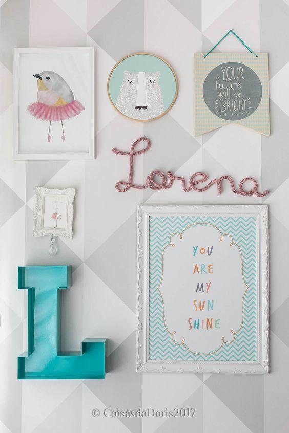 nome do bebê na decoração do quarto