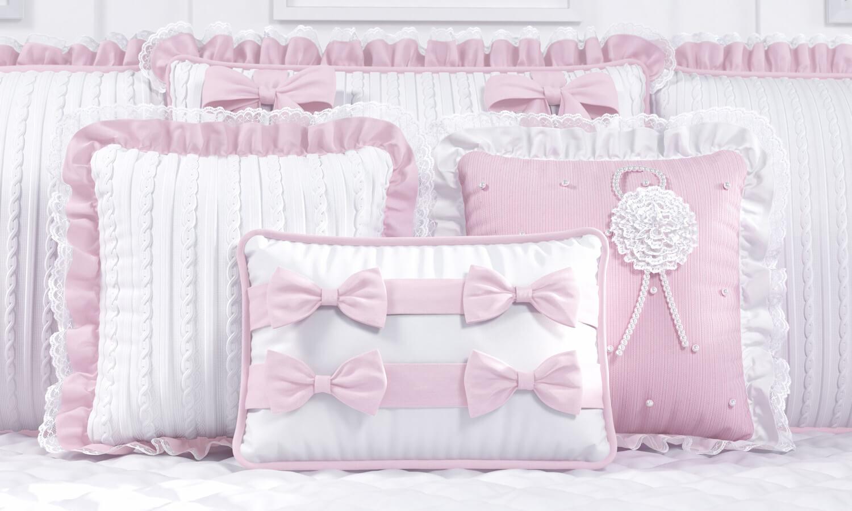 kit berço tricot rosa